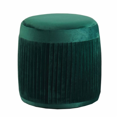 Benzara Flannelette Upholstered Round Ottoman - Green Perspective: front