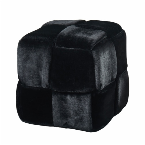 Benzara Velvet Upholstered Ottoman - Black Perspective: front