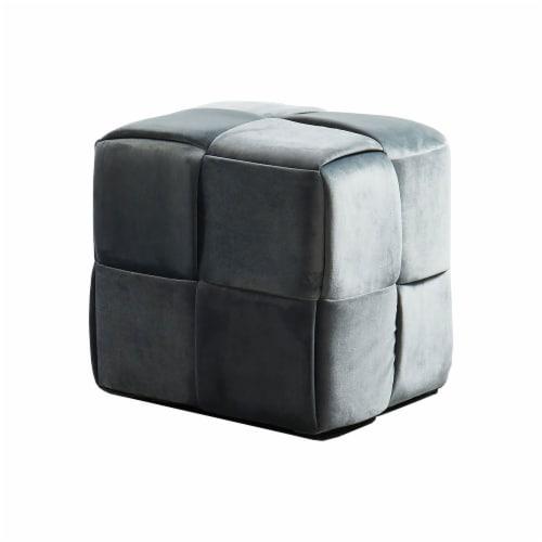 Benzara Velvet Upholstered Ottoman - Gray Perspective: front