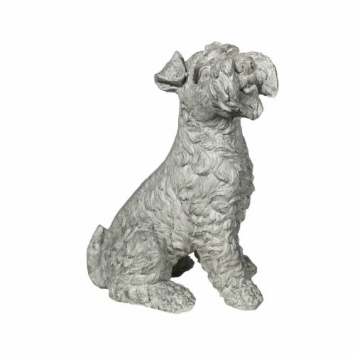 Benjara BM208328 Norfolk Terrier Dog Fiberstone Figurine in Sitting Position - Distressed Gra Perspective: front