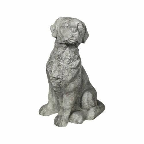 Benjara BM208329 Border Terrier Dog Fiberstone Figurine in Sitting Position - Distressed Gray Perspective: front
