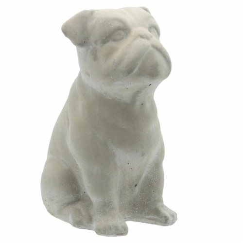 Benjara BM208405 Cement Bulldog Sitting Figurine Looking Straight - Weathered Gray Perspective: front