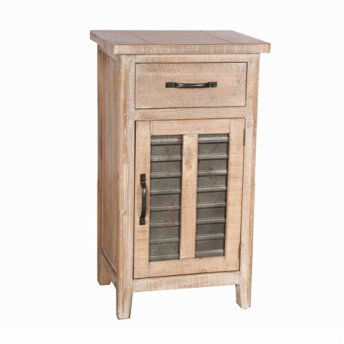 Farmhouse Storage Accent Cabinet with Drawer and Metal Insert Door, Large, Brown ,Saltoro Perspective: front