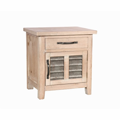 Farmhouse Storage Accent Cabinet with Drawer and Metal Insert Door, Small, Brown ,Saltoro Perspective: front