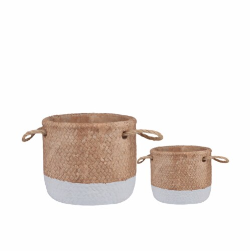 Saltoro Sherpi Round Cement Basket with Rope Handles, Small, Set of 2, Gray and Brown Perspective: front