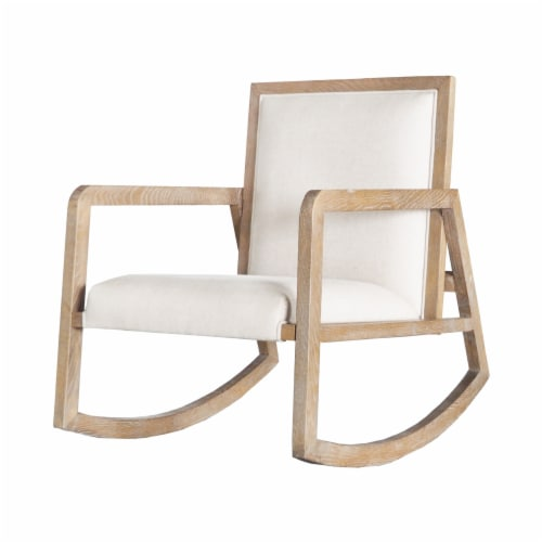 Saltoro Sherpi Fabric Upholstered Wooden Rocking Chair with Sled Base, Brown and White Perspective: front