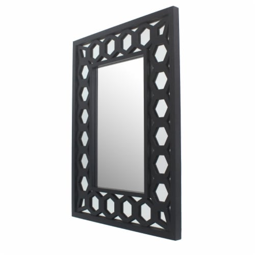 Saltoro Sherpi Rectangular Wooden Dressing Mirror with Lattice Pattern Design, Black Perspective: front