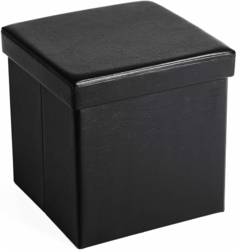 Benzara Square Leatherette Foldable Storage Ottoman with Padded Seat - Black Perspective: front