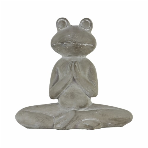 Benjara BM209429 Meditating Cemented Frog Figurine with Crossed Legs & Arms, Gray Perspective: front
