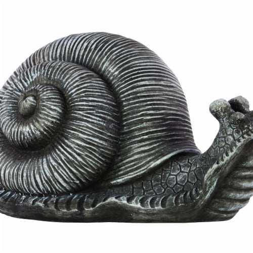 Benjara BM209463 8.5 H x 9.25 x 16.5 in. Transitional Style Textured Fiberstone Snail Figurin Perspective: front