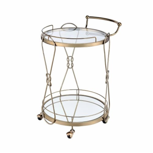 Saltoro Sherpi Serving Cart with 2 Glass Shelves and Caster Support, Gold and Clear Perspective: front