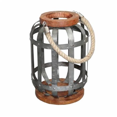 Benzara Hanging Galvanized Lantern - Gray Perspective: front