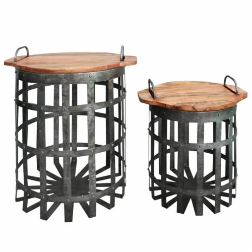 Galvanized Accent End Table Set With Lid and Handles - Gray/Brown Perspective: front
