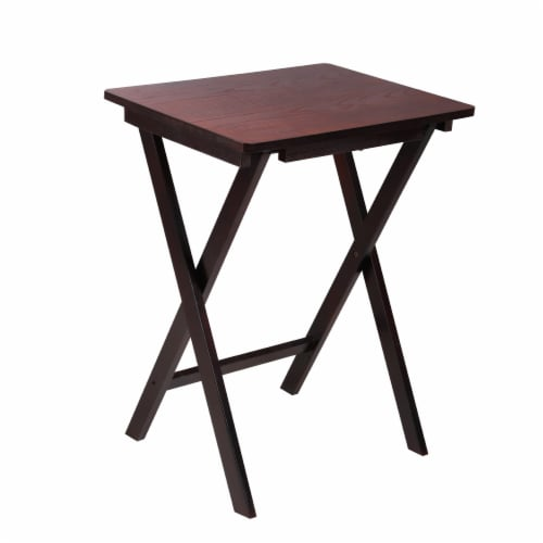 Benzara Traditional Style Wooden Folding Table - Dark Brown Perspective: front