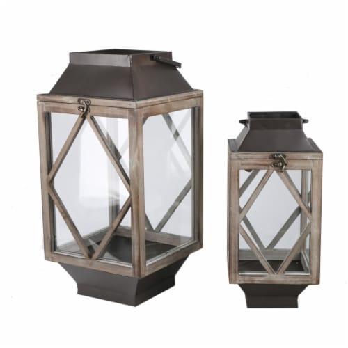 Benjara BM210000 Wood & Metal Lantern with Diamond Body Design, Brown & Black - Set of 2 Perspective: front