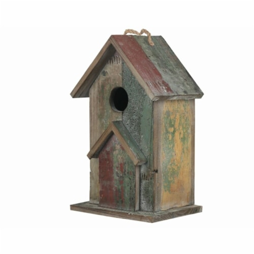 Benjara Wooden Bird House with Rope Hanger, Multi Color Perspective: front