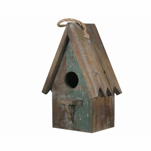 Benjara Wooden Bird House with Saw Tooth Edge Design on Roof, Brown Perspective: front