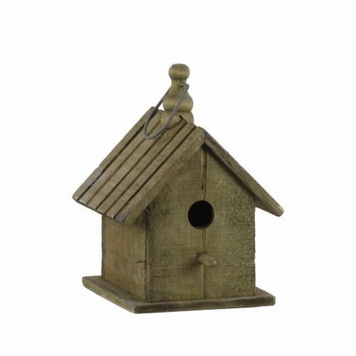 Benjara Wooden Bird House with Gable Roof Design & Metal Handle, Brown Perspective: front