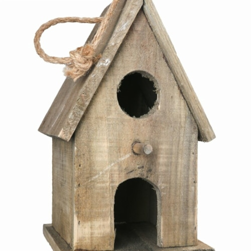 Benjara Wooden Bird House with Double Front Entrance & Back Door Entry, Brown Perspective: front