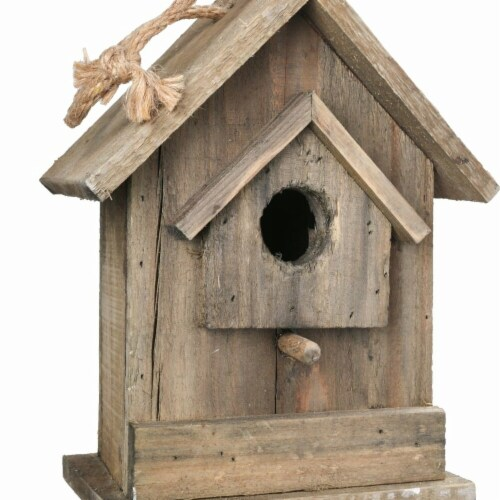 Benjara Wooden Bird House with Small Back Door Entry, Brown Perspective: front