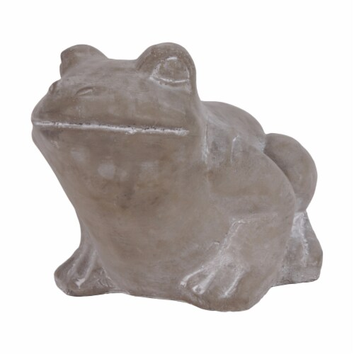 Benjara BM210093 Cement Sitting Frog Figurine Looking Straight, Concrete Gray Perspective: front