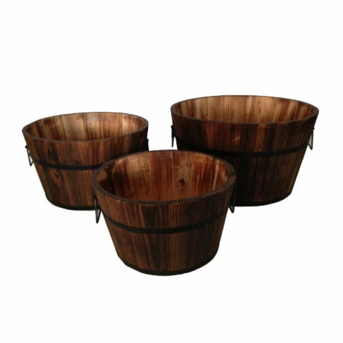 Saltoro Sherpi Round Wooden Planters with Narrow Bottom and Handles, Set of 3, Brown Perspective: front