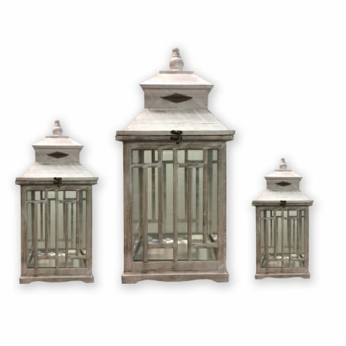 Benjara BM210395 24 x 11 x 11 in. Wooden Lanterns with Peak Shaped Top & Glass Sides, Gray - Perspective: front