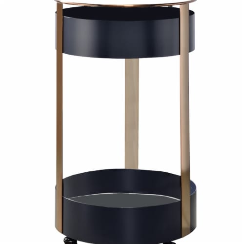 Benjara BM211117 Round Metal Frame Serving Cart with Casters & Open Shelf - Black & Gold - 31 Perspective: front