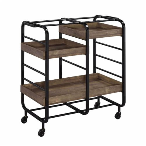 Benjara BM211118 Metal Frame Serving Cart with 3 Open Storage & Casters - Brown & Black - 38 Perspective: front