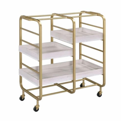 Benjara BM211119 Metal Frame Serving Cart with Adjustable Compartments - Gold & Washed White Perspective: front