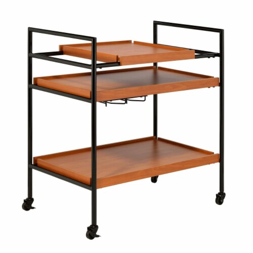 Benjara BM211124 Metal Frame Serving Cart with Adjustable Compartments - Oak Brown & Black - Perspective: front