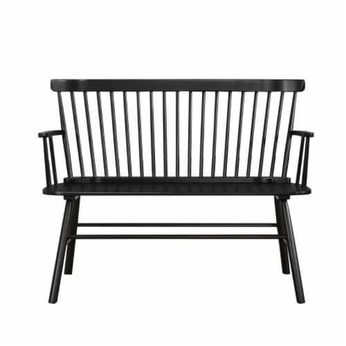 Benjara 19  Transitional Solid Wood Curved Design Spindle Back Bench in Black Perspective: front