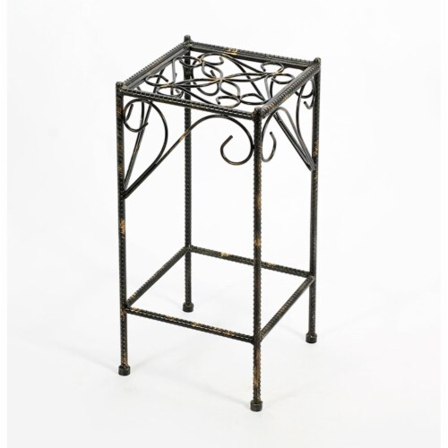 Benjara BM216724 Scrolled Metal Frame Plant Stand with Square Top, Black - Medium Perspective: front