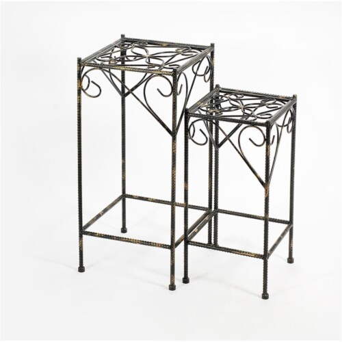 Benjara BM216726 Scrolled Metal Frame Plant Stand with Square Top, Black - Set of 2 Perspective: front