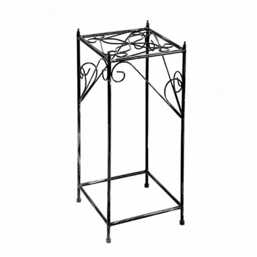 Benjara BM216730 Lattice Cut Square Top Plant Stand with Tubular Legs, Black - Large Perspective: front