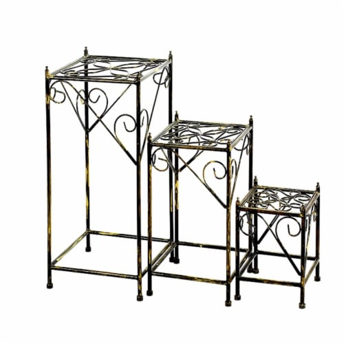 Benjara BM216731 Lattice Cut Square Top Plant Stand with Tubular Legs, Black - Set of 3 Perspective: front