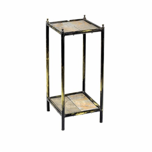 Benjara BM216732 2 Tier Square Stone Top Plant Stand with Metal Frame, Black & Gray - Small Perspective: front