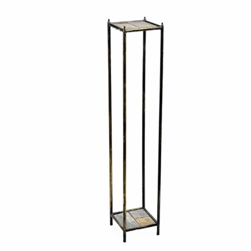 Benjara BM216734 2 Tier Square Stone Top Plant Stand with Metal Frame, Black & Gray - Large Perspective: front