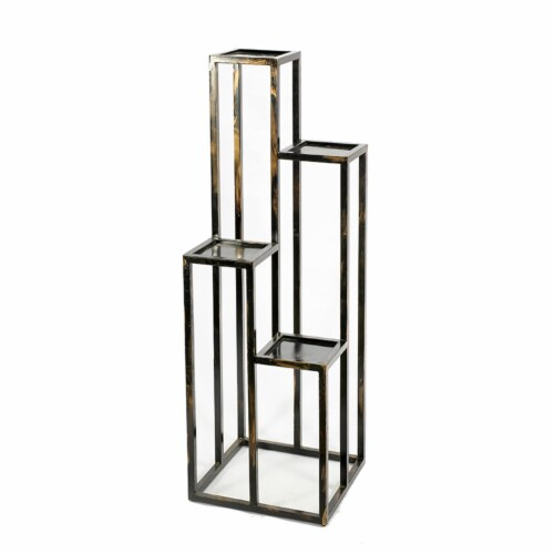 Benjara BM216736 4 Tier Cast Iron Frame Plant Stand with Tubular Legs, Black & Gold Perspective: front