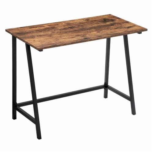 Benzara Wooden Top Writing Table - Rustic Brown/Black Perspective: front
