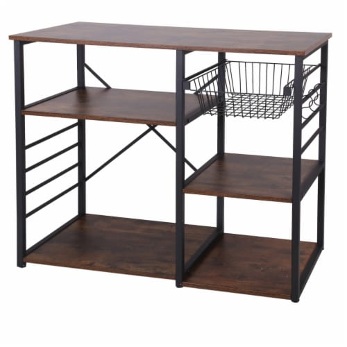 Saltoro Sherpi Wood and Metal Bakers Rack with 4 Shelves and Wire Basket, Brown and Black Perspective: front
