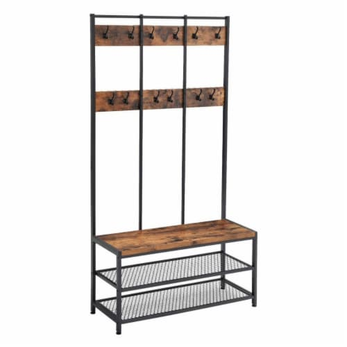 Saltoro Sherpi Wood and Metal Hall Tree with 12 Hooks and 3 Open Shelves, Brown and Black Perspective: front