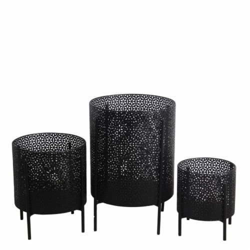 Saltoro Sherpi Metal Planters with Floral Hexagon Cut Out Design, Set of 3, Black Perspective: front