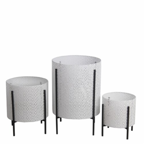 Saltoro Sherpi Metal Planters with Floral Hexagon Cut Out Design, Set of 3,White and Black Perspective: front