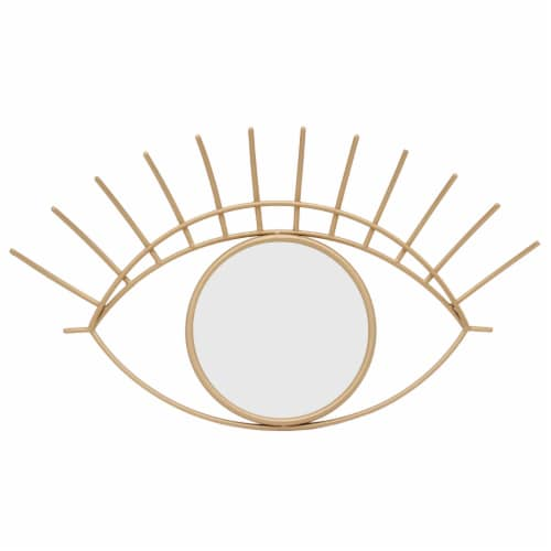 Saltoro Sherpi 32 Inch Contemporary Eye Design Metal Wall Decor with Round Mirror,Gold and Perspective: front