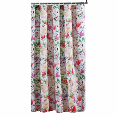 Saltoro Sherpi 72 x 72 Inches Shower Curtain with Floral Print, Multicolor Perspective: front