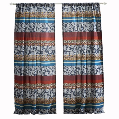 Saltoro Sherpi 4 Piece Polyester Window Panel Set with Paisley and Mosaic Print,Multicolor Perspective: front