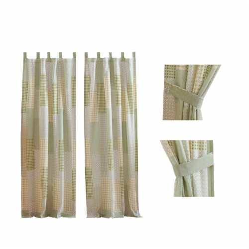 Saltoro Sherpi Fabric Panel Curtains with Geometric Pattern Motifs, Set of 4, Green Perspective: front