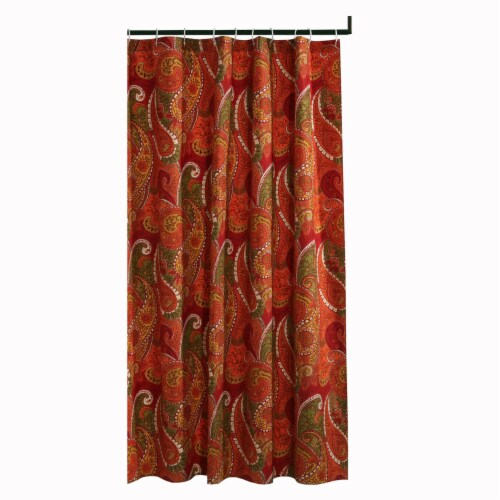 Saltoro Sherpi 72 x 72 Polyester Shower Curtain with Paisley Print, Cinnamon Red Perspective: front