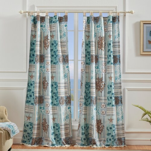 Saltoro Sherpi Sea Life Print Curtain Panel with Tie Backs, Set of 4, Blue and Brown Perspective: front